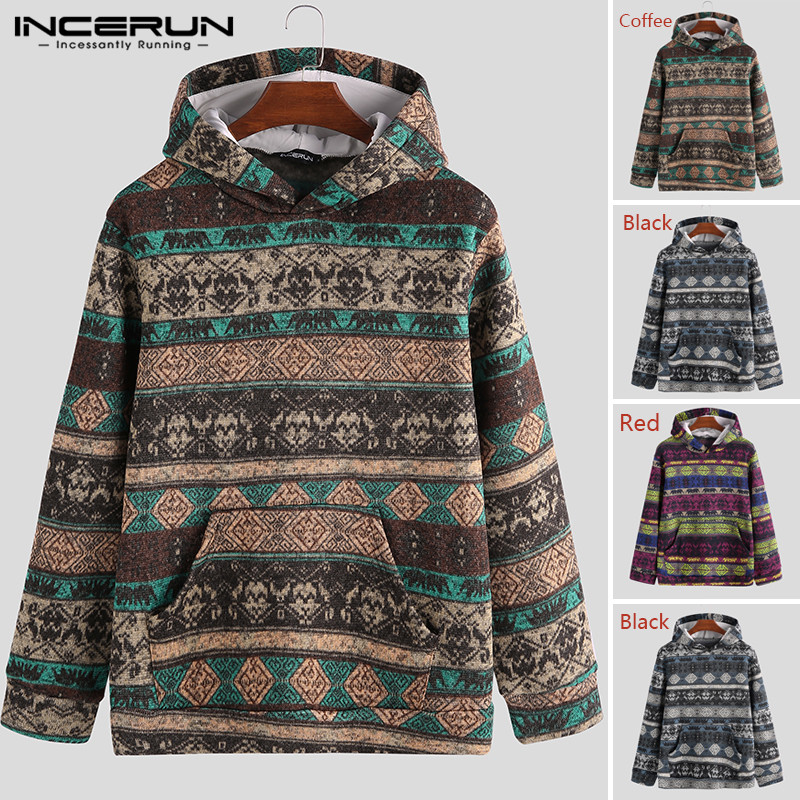 Ethnic Printed Men Hoodies Pockets Streetwear Hooded Long Sleeve Pullovers Knitted Autumn Winter Fashion Sweatshirt INCERUN 2020