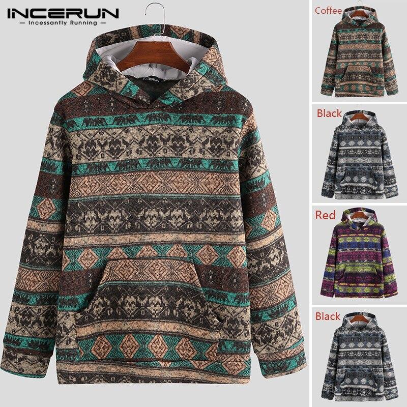 Ethnic Printed Men Hoodies Pockets Streetwear Hooded Long Sleeve Pullovers Knitted Autumn Winter Fashion Sweatshirt INCERUN 2020