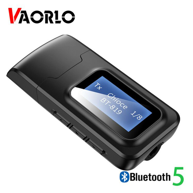 VAORLO With LCD Display Bluetooth 5.0 Audio Receiver Transmitter 3.5MM AUX Jack Stereo USB Adapter Wireless Dongle For PC TV Car