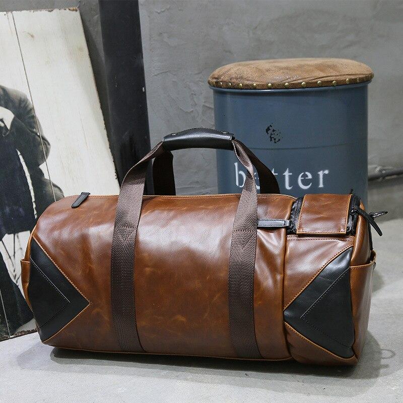 Soft Leather Travel Bag Vintage Trend Large Capacity Luggage Bag Male Korean Portable Travel Bag Handbag Shoulder Crossbody Bag