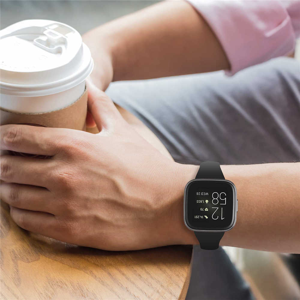 Correa de repuesto para Fitbit Versa 2, correa de silicona delgada, de repuesto para reloj Fitbit Versa 2, mujeres y hombres