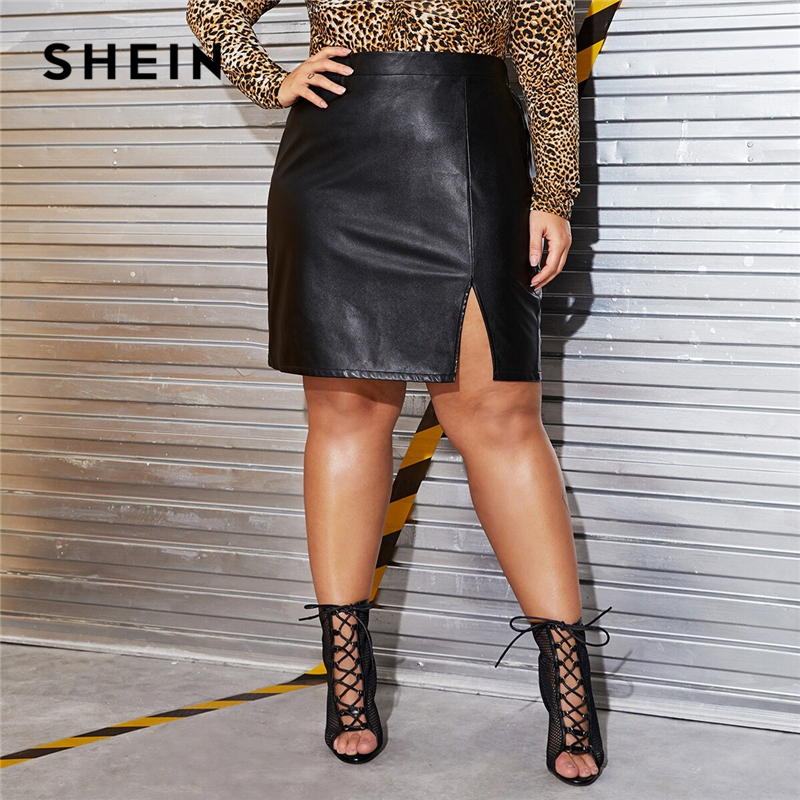 SHEIN Plus Size Black Split Side Skinny PU Skirt Women Autumn Solid Big Size Motor Storm Glamorous Mini Straight Skirts