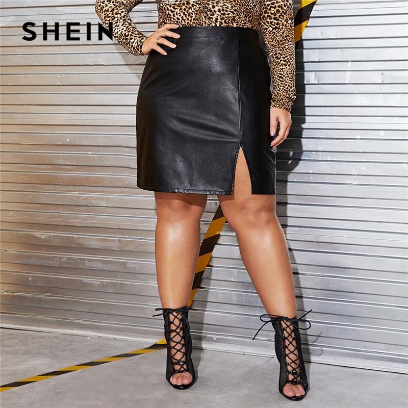 SHEIN Plus Size Black Split Side Skinny PU Skirt Women Autumn Solid Big Size Motor Storm Glamorous Mini Straight Skirts