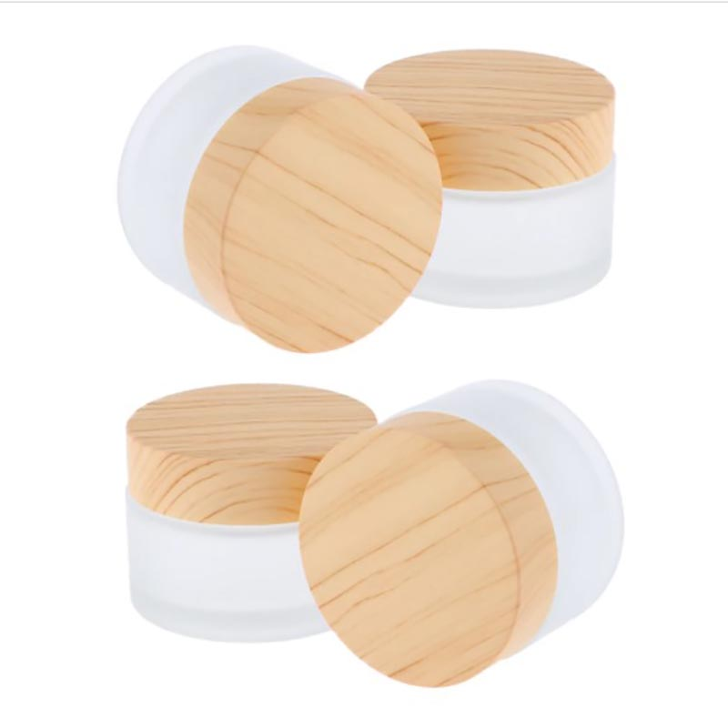 12 x 50g 30g 15g 10g 5g Frost Glass Cream Jar With plastic imitation wood lids 1/2oz 1/3oz 1oz Glass Containers For Cream using