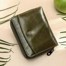 محفظة جلدية حقيقية المرأة الصغيرة تتفاعل سستة حامل بطاقة محافظ للنساء قصيرة الإناث محفظة نسائية للعملات المعدنية portfel damski