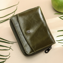Contacts Genuine Leather Wallet women Small rfid zipper card holder Wallets for women Short female Coin Purse portfel damski