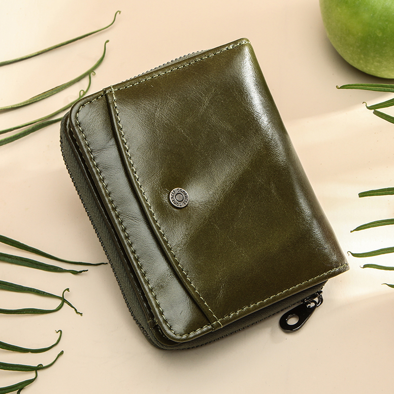 Contact's Women Genuine Leather Wallet Small Luxury Brand Zipper Wallets Lady Short Zipper Ladies Coin Purse Card Holder Femme