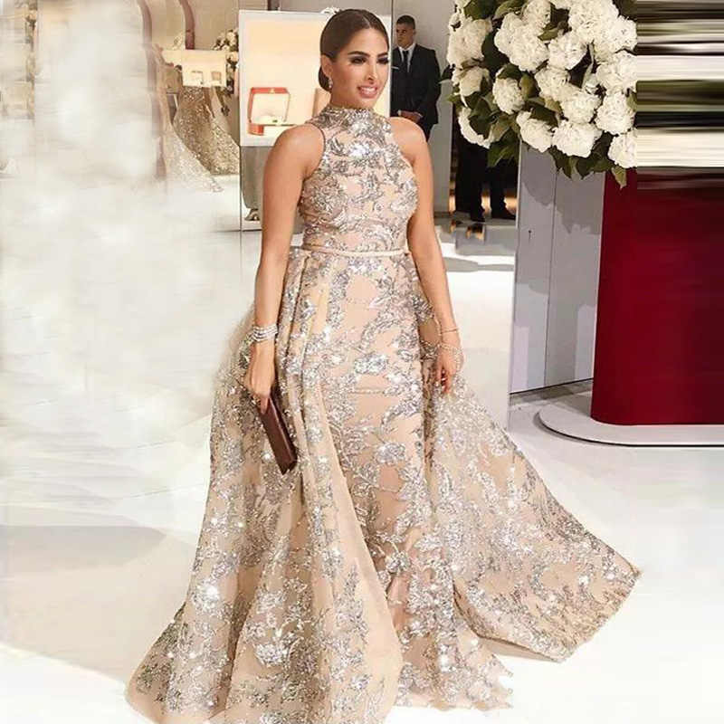 Elegent Long Evening Dresses 2019 Mermaid Glitter Sequins Detachable Train Arabic Dudai Formal Dress Prom Gown Robe de Soiree
