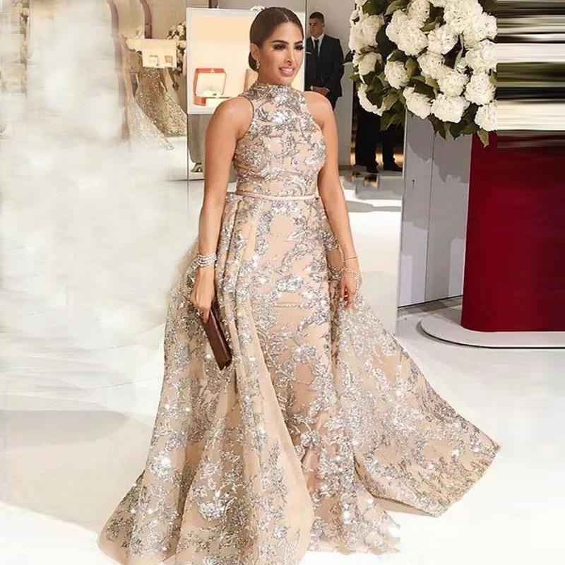 Elegent Long Evening Dresses 2019 Mermaid Glitter Sequins Detachable Train Arabic Dudai Formal Dress Prom Gown Robe de Soiree