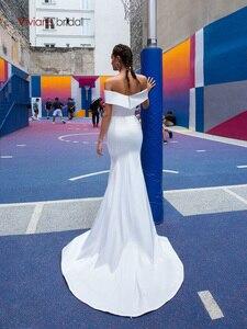 Image 2 - ויויאן של כלה 2019 חם רעיוני שמלת סאטן חתונה שמלה סקסי סטרפלס כבוי כתף להסרה רכבת בת ים כלה שמלה
