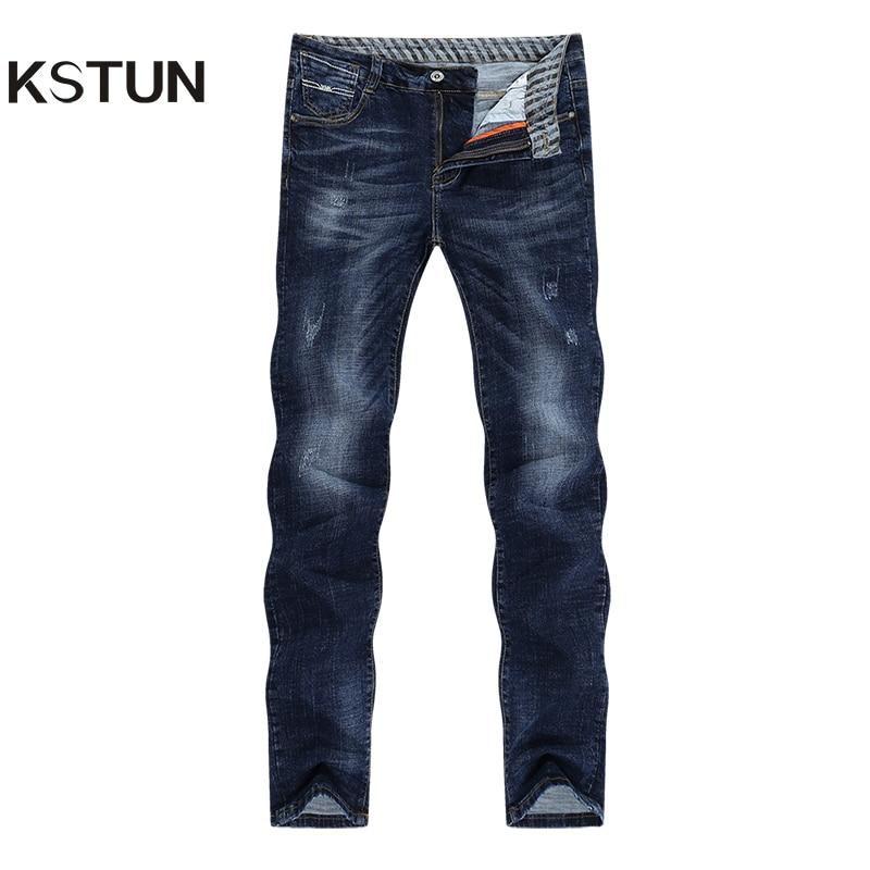 KSTUN Winter Jeans Men Jeans Pants Blue Stretch Slim Straight Fashion Pockets Desinger Casual Denim Men's Clothing Jeans Homme