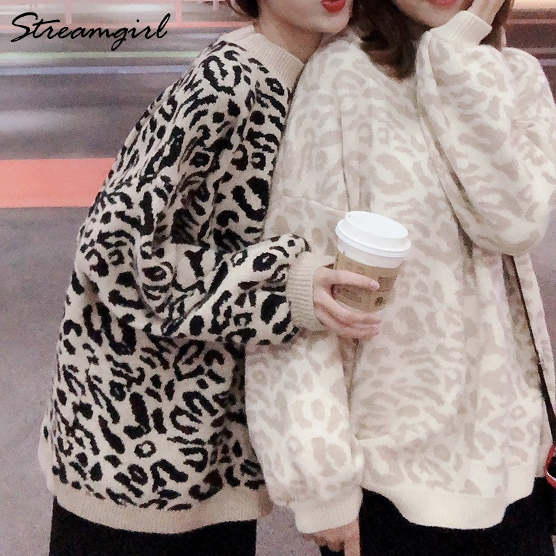 Knited Leopard Sweater Oversize For Women Hot Autumn Winter Pullover Sweaters Female Jumpers Ladies Leopard Print Sweater 2019