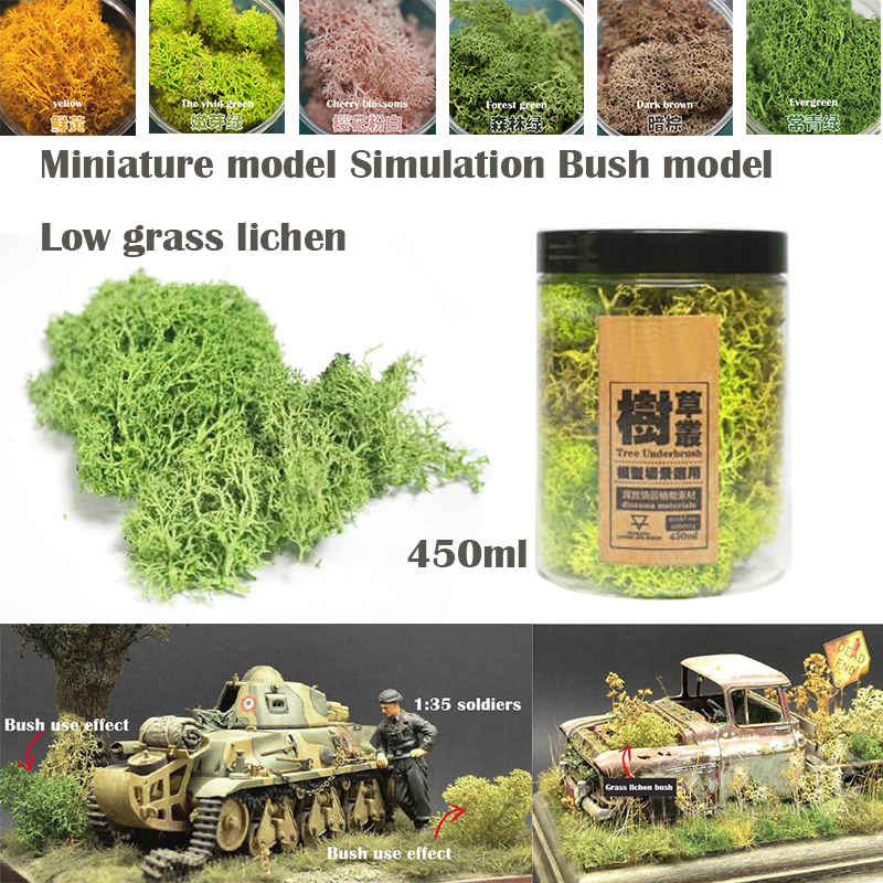 Miniature Model  Simulation Bush Model  Low Grass Lichen 450ml DIY Sand Table Military Train Scene Model Material
