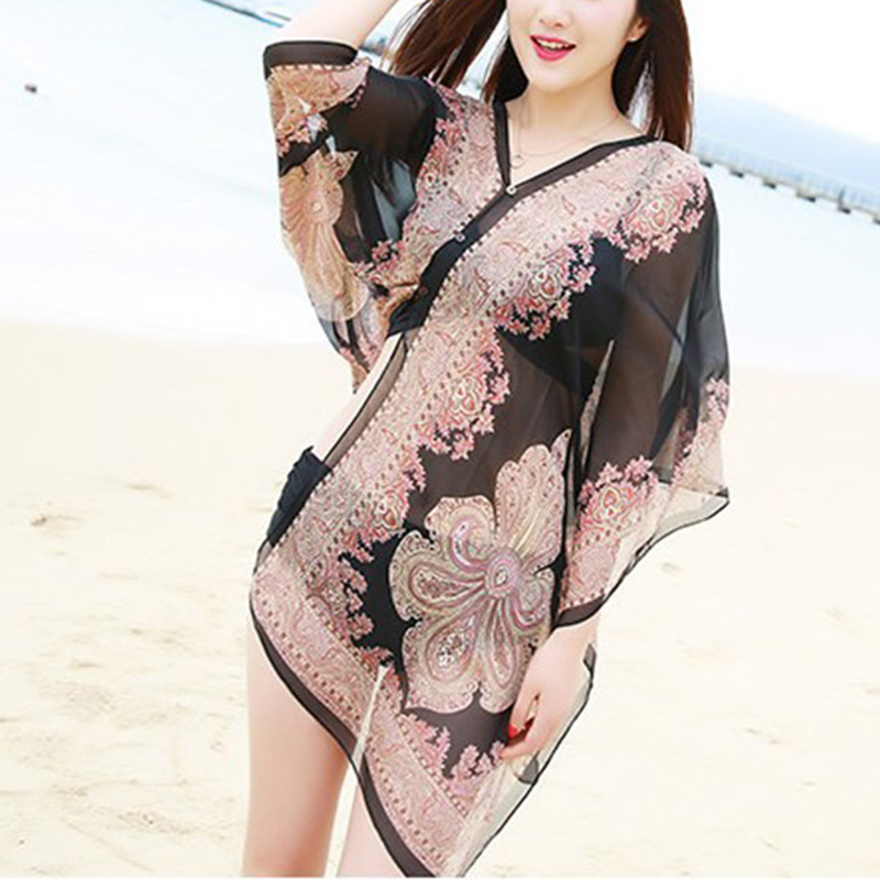 New 1pc Women Shawl Boho Floral Print Chiffon Sunproof Beach Bikini Cover Up for Summer XD88 image