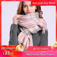 Plaid Wool Scarf Winter Shawls and Wraps Ladies Luxury Brand 2019 Soft Thick Pashmina Capes Plaid Warm Scarf Wool Wrap for Women
