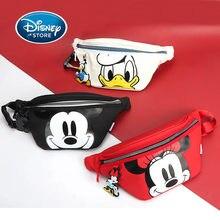 Disney Mickey Mouse de las mujeres de los hombres de hombro cintura bolsa de viaje al aire libre de cuero dibujo animado de Donald Duck bolsos bolsa de mensajero