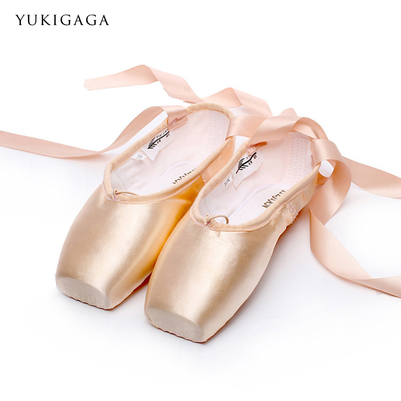 Ballet Pointe Shoes Ribbons Satin Professional Girls Adult Silicone Kids Women Black/red title=