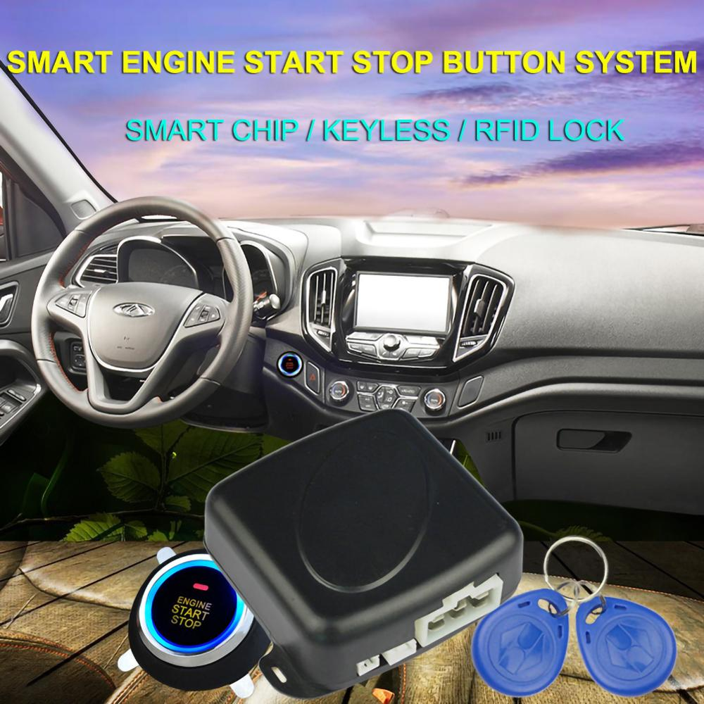 Auto Car Alarm One Start Stop Engine Starline Push Button RFID Lock Ignition Switch Keyless Entry Starter Antitheft System
