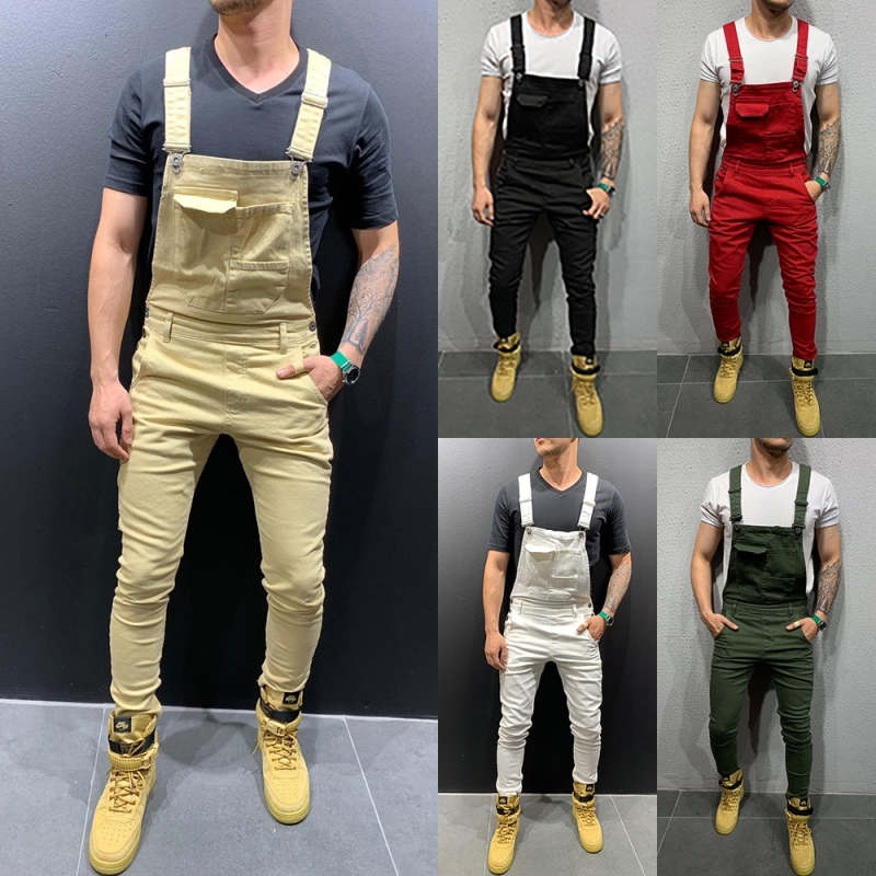 2019 High Street Overalls   Jeans   Men Fashion Camouflage Slim Fit Denim Jumpsuits Casual Pockets Suspender Distressed   Jeans   Pant