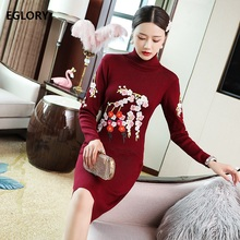 Turtleneck Sweater Dress 2019 Autumn Winter Knitted Women Floral Embroidery Knit Long Sleeve Blue Black Red Jumper