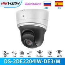 Hikvision PTZ IP Wi-Fi Камера 2MP 4X зум IR PoE DS-2DE2204IW-DE3/W камера наружного видеонаблюдения встроенный слот для карты SD DarkFighter