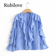 Rubilove new women v neck solid color ruffles smock blouse female basic long sleeve chiffon femininas shirt casual chemise tops цена 2017