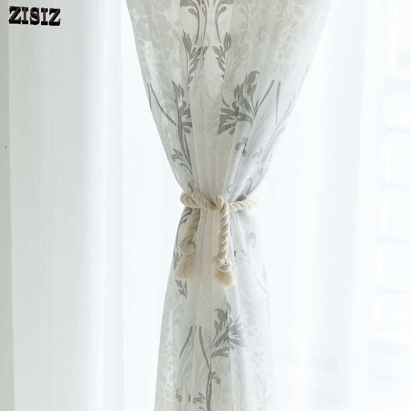 ZISIZ Modern Printed Tulle Curtains for Living Room Kitchen Geometric Sheer Curtains for Bedroom Voile Curtains Door Drapes