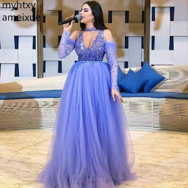 Горячие сексуальные фиолетовые вечерние платья с длинными рукавами на заказ 2019 мусульманские нарядные платья для вечеринок Vestido Longo Festa Дубай строгий халат De Soiree