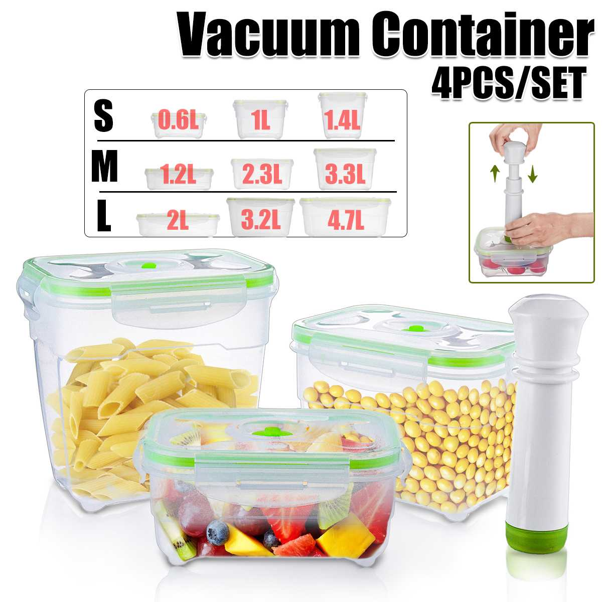 Вакуумный контейнер с вакуумным насосом, контейнер для хранения, для холодильника, кухни, микроволновой печи, большой объем 0,6-4,7 л, 4 шт./комп...