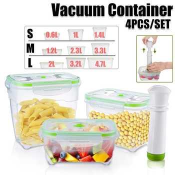 4 шт./компл. вакуумный контейнер с вакуумным насосом коробка для сохранения вакуума холодильник Кухня Микроволновая печь большая емкость 0....