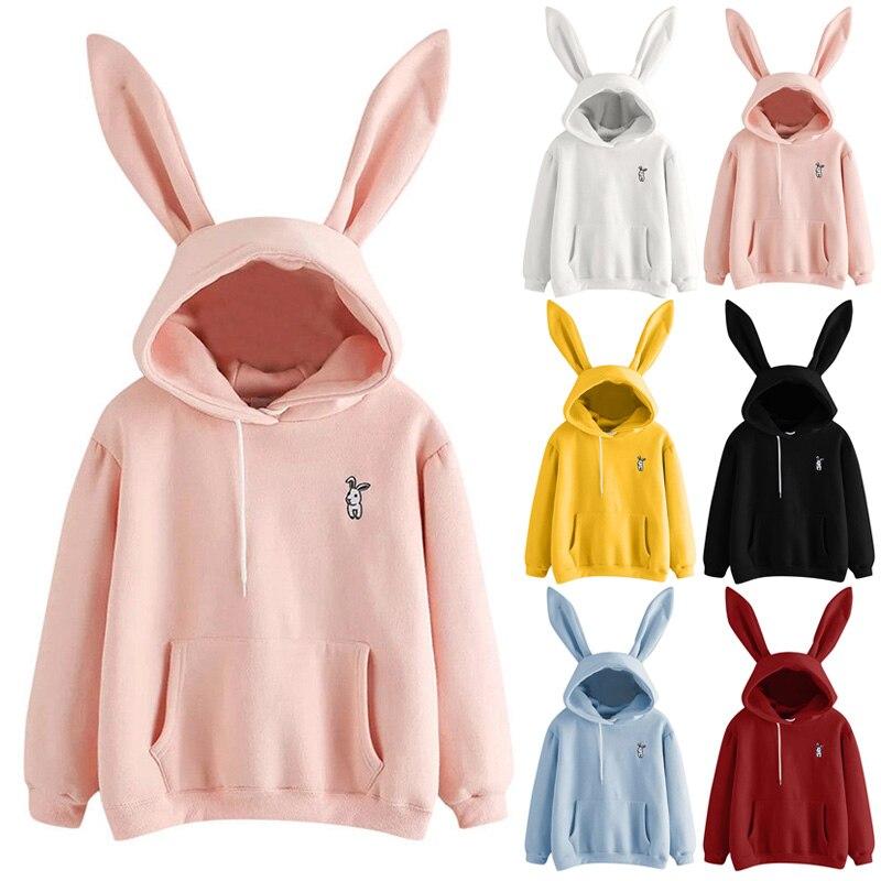 New Fashion  Women Long Sleeve Rabbit Hoodie Sweatshirt Bunny Ear Pullover Tops For Autumn Winter J9