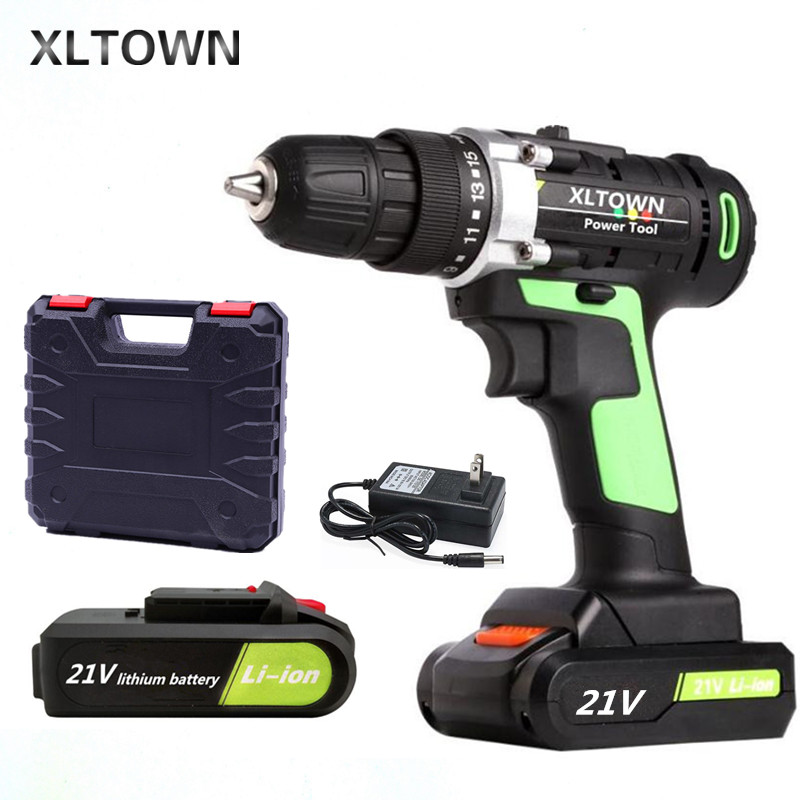 XLTOWN 12/16.8/21v Cordless Electric Drill with 2 battery Multifunction Mini Screwdriver Lithium Battery Electric Screwdriver