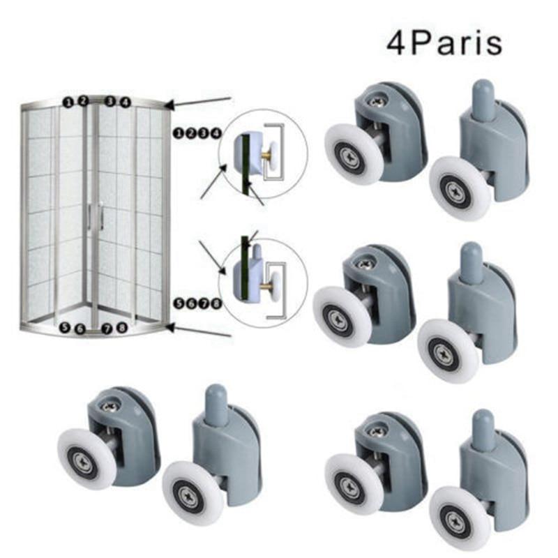 8pcs/set Bathroom Shower Door Sliding Cabins Pulley Castor Enclosures Runners Upper Lower Rollers Wheels-0