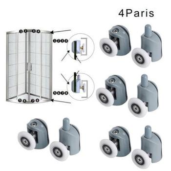 8pcs/set Bathroom Shower Door Sliding Cabins Pulley Castor Enclosures Runners Upper Lower Rollers Wheels