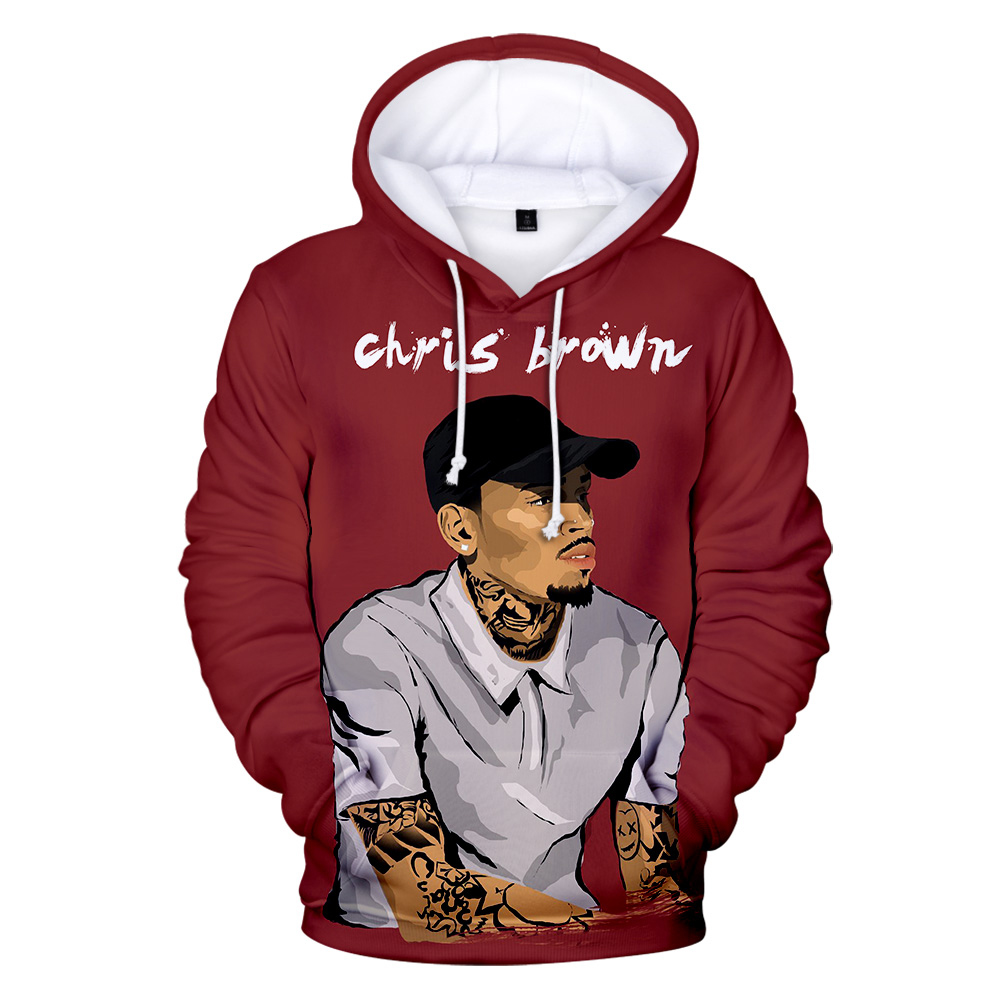 New Chris Brown Hoodies Black 3D Print Sweatshirt Chris Brown Popular Men/Women Casual Autumn Winter Hooded Sweatshirt Cool