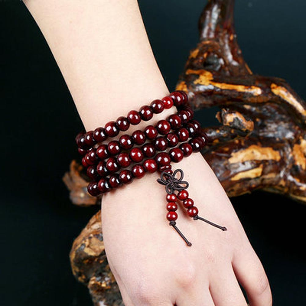 Hot Beads Bracelet Lady Gift Jewelry Indian Leaflet Rosewood 108 Hand String Star Moon Bodhi