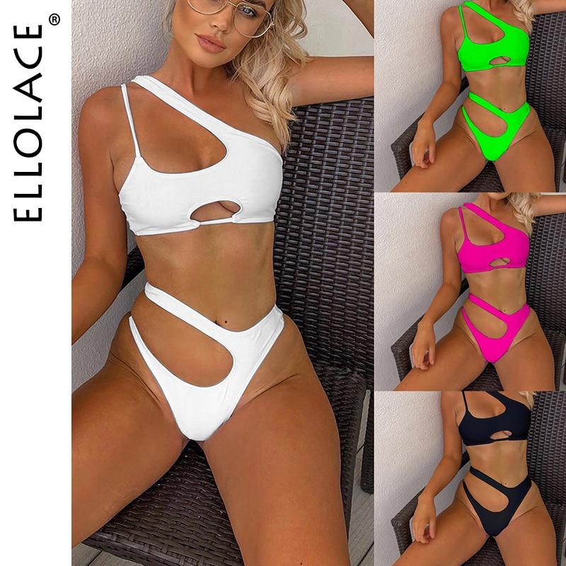 Ellolace-Bikini fluorescente para mujer, traje de baño ahuecado Sexy, juego de Bikini de estilo Push-Up, Monokini, ropa de playa para verano