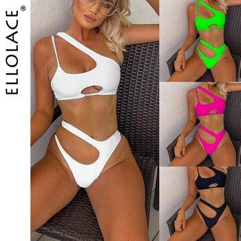 Ellolace Sexy Neon Bikini Swimsuit Women Hollow Out Push Up Set Female Swimwear Monokini Bathing Suit Summer Beach Wear - discount item  50% OFF Swimwears