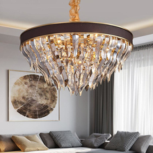 New modern round crystal chandelier designer recommended luxury American villa lamp living room lamp light luxury crystal chandelier post modern minimalist atmosphere restaurant lamp designer model villa luxury living room lamp