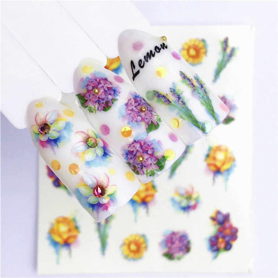 1 قطعة الأزياء الملونة الزهور هلام مسمار البولندية مانيكير شبه الدائم UV LED جل الورنيش نقع قبالة مسمار الفن أزياء سحر النساء