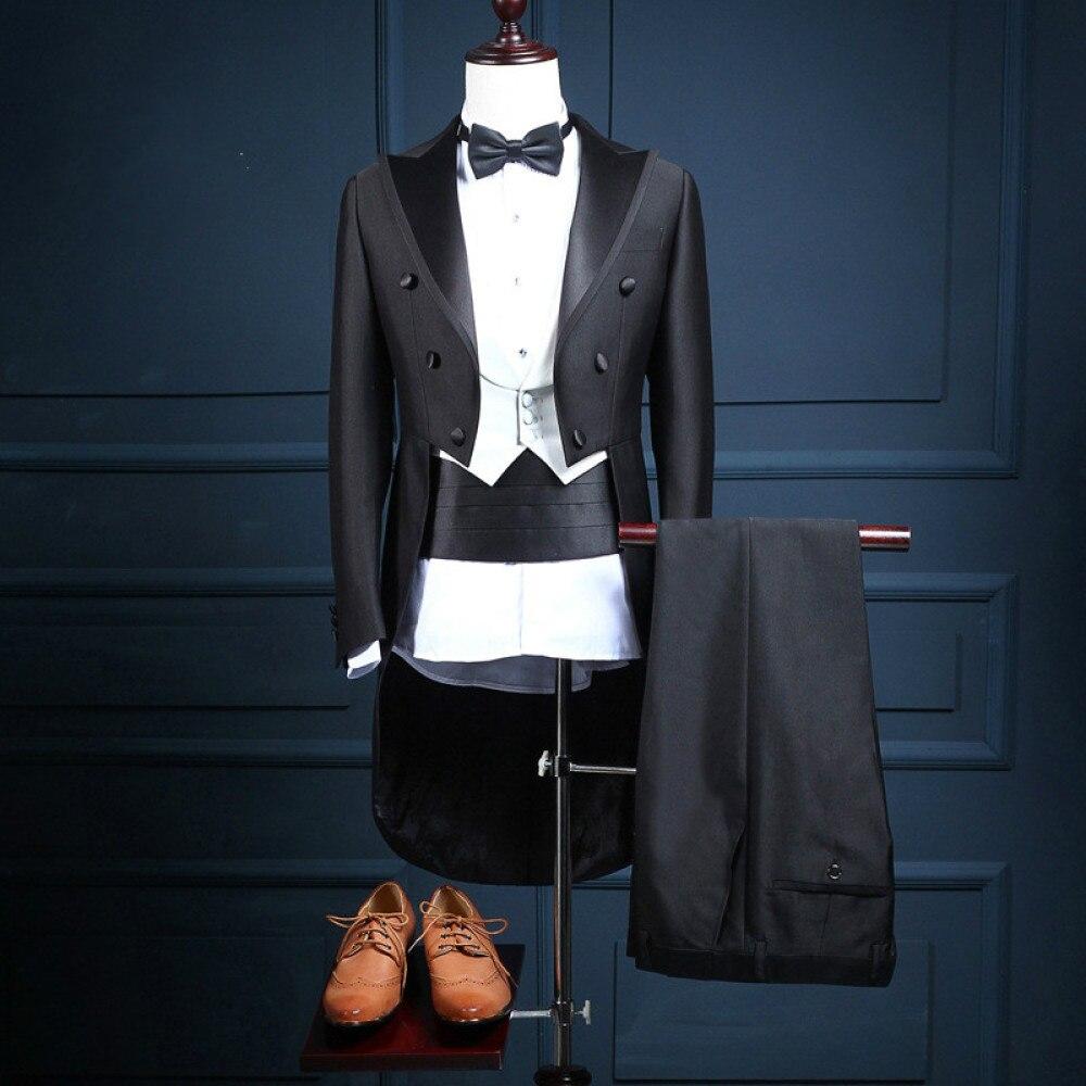 2020 New Plus Size Male Classic Pure Black Shiny Lapel Tail Blazer Fashion Tuxedo Wedding Groom Stage Singer Three Pieces Suit