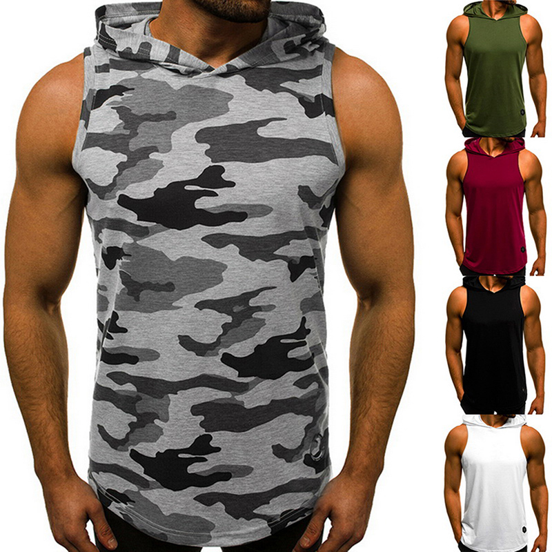 2019 Men's Sleeveless Hooded   Tops   Streetwear Men   Tank     Tops   Hoody Autumn Gyms Bodybuilding Men Fitness Vest Muscle Guys Vests