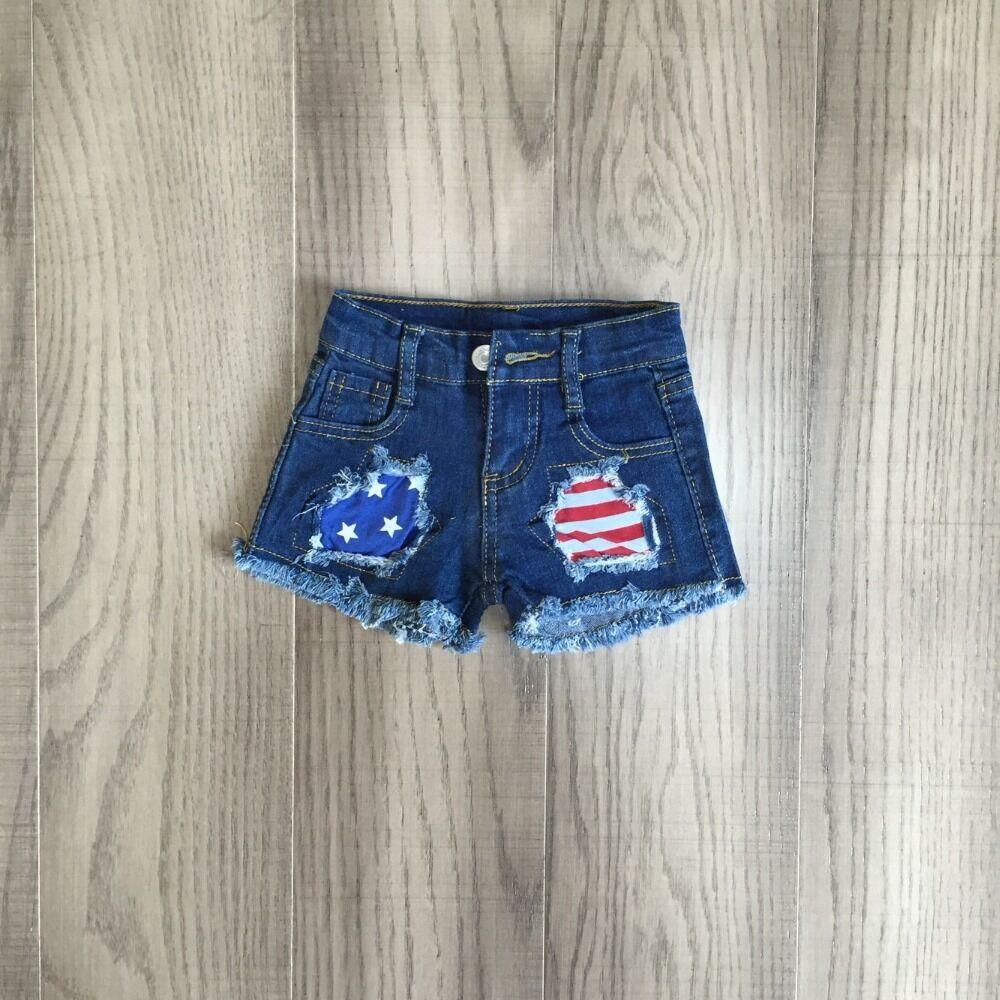 Baby Girls July 4th Pants Girls Short Jeans Girls Shorts Wholesale