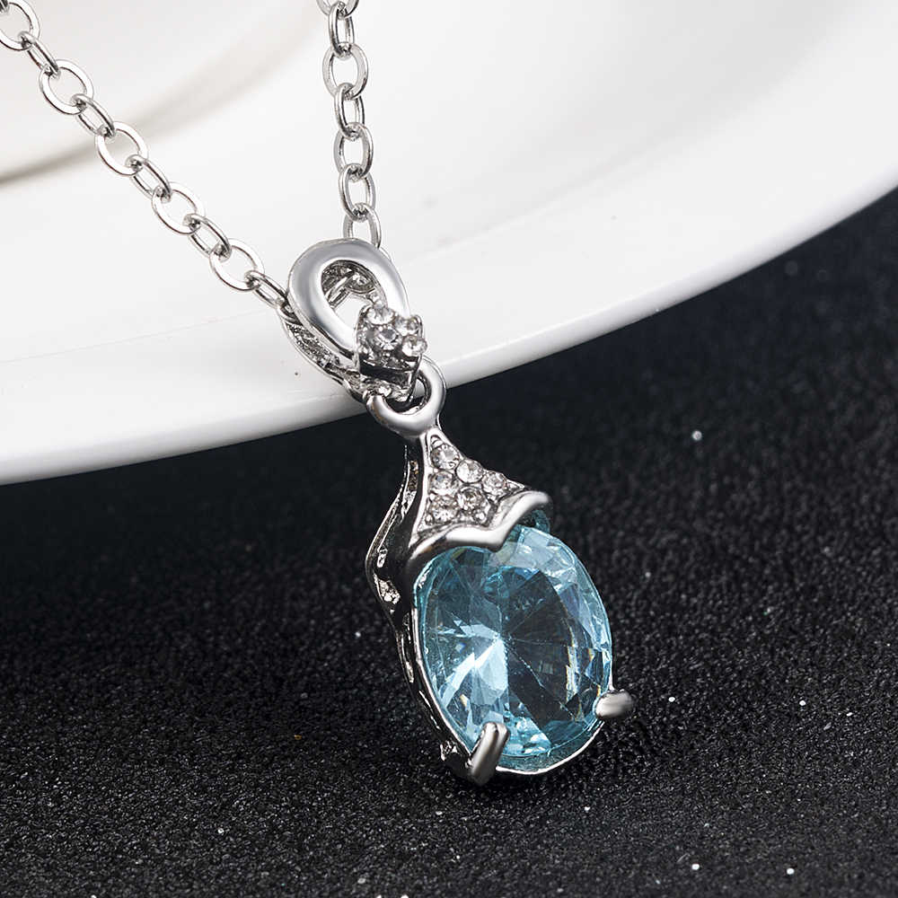 Sea blue Artificial-stone Silver Pendant Charm Necklace Crystal long Chain for Women Girl Necklaces Jewelry anniversary gift2019