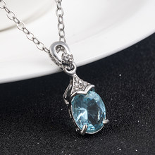 Sea blue Artificial-stone Silver Pendant Charm Necklace Crystal long Chain for Women Girl Necklaces Jewelry anniversary gift2019(China)
