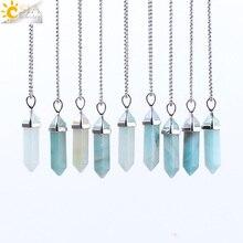 CSJA Лидер продаж шестиугольная колонна ожерелья натуральный камень кулон из амазонита Два острых угла кварцевые бусины для женщин мужчин ювелирные изделия F185