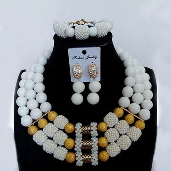 4UJewelry Women White Bridal Jewelry Set Beaded Balls African Jewellery Set 3 Layers Bracelet Earrings and Necklace Set 2019