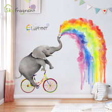 Большой витраж наклейки на стену в виде слона для детей украшения