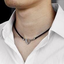 Collar de cuero negro sencillo y fino para hombre, cuerda trenzada, cierre de palanca único, regalo de moda bisutería DN128, 4mm