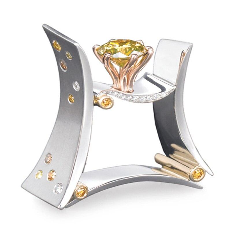 925 Silver Color Ametrine Diamond Ring For Women Bague Etoile Bizuteria Topaz Gemstone Silver 925 Jewelry Diamante Ring Jewelry
